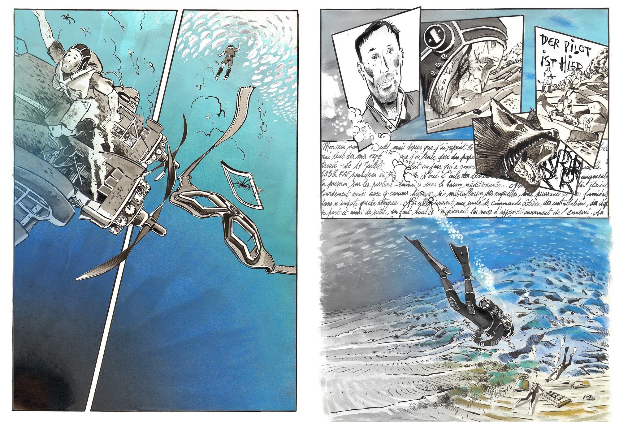 Two pages of the artistic reconstitution of the crash by Antoine Bugeon © Octopus Foundation