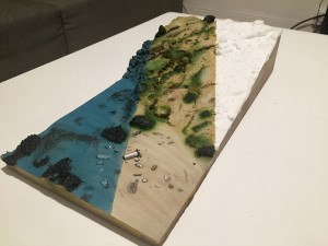 The scale model with three different stages. The white is raw, the middle is the sea floor without the water, and on the left is what a scuba diver would see © Octopus Foundation