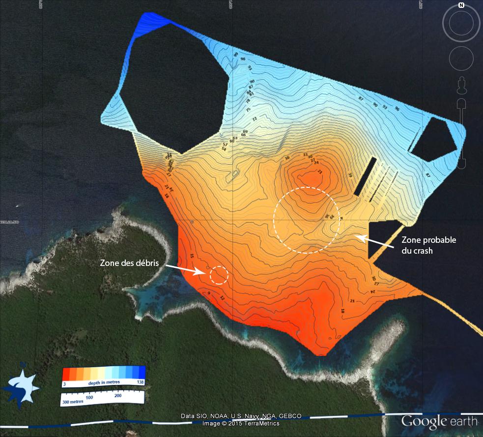 Carte bathymétrique réalisée grâce au sonar de notre voilier d'expédition. Les profondeurs sont en mètres © Octopus Foundation