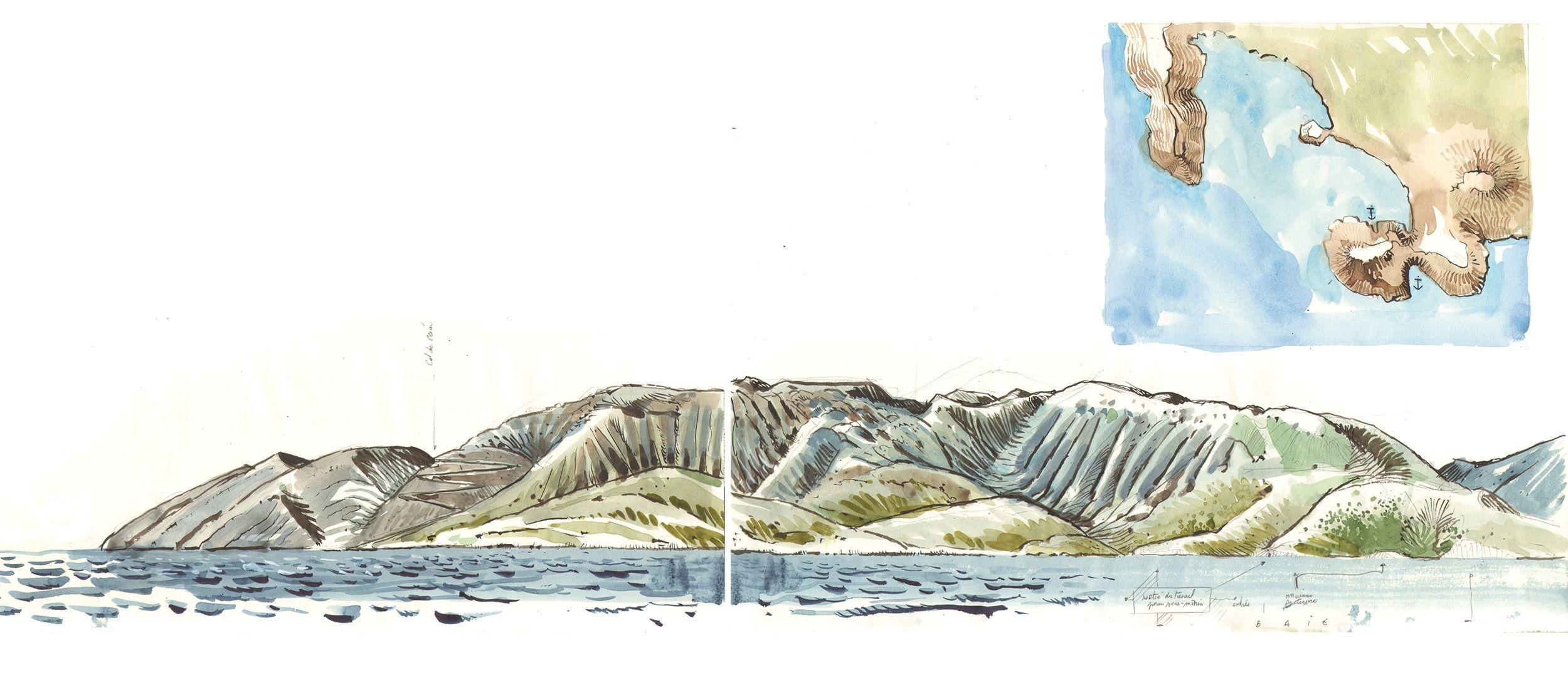Dessin d'Antoine Bugeon qui représente parfaitement l'impressionnante chaîne de montagnes Albanaises, dont les pentes abruptes se jettent littéralement dans la mer. En haut à droite, le mouillage de Porto Palermo, dernier abri avant Oricum © Octopus Foundation