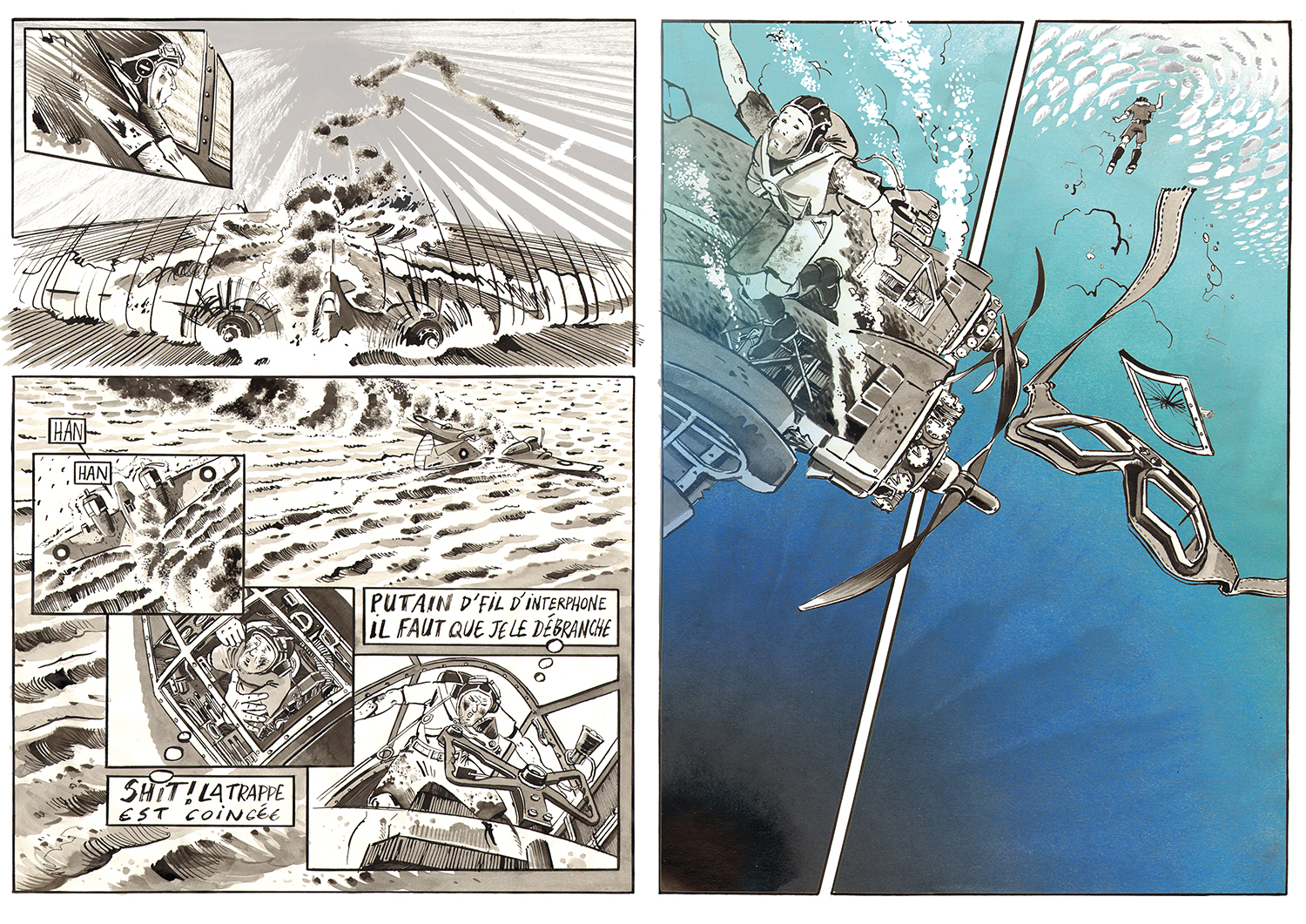 A double page of comics made during our mission in the Beaufighter © Antoine Bugeon / Octopus Foundation