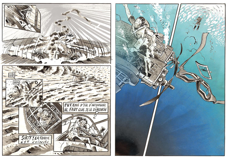Une double page de la BD réalisée lors de notre mission sur le Beaufighter © Antoine Bugeon / Octopus Foundation