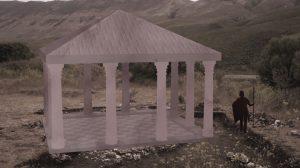 Une représentation numérique du bâtiment carré qui se situait sur le haut de la colline d'Oricum. Il s'agissait vraisemblablement d'un atelier de fabrication de vêtements et de voiles de bateau © Fondation Octopus