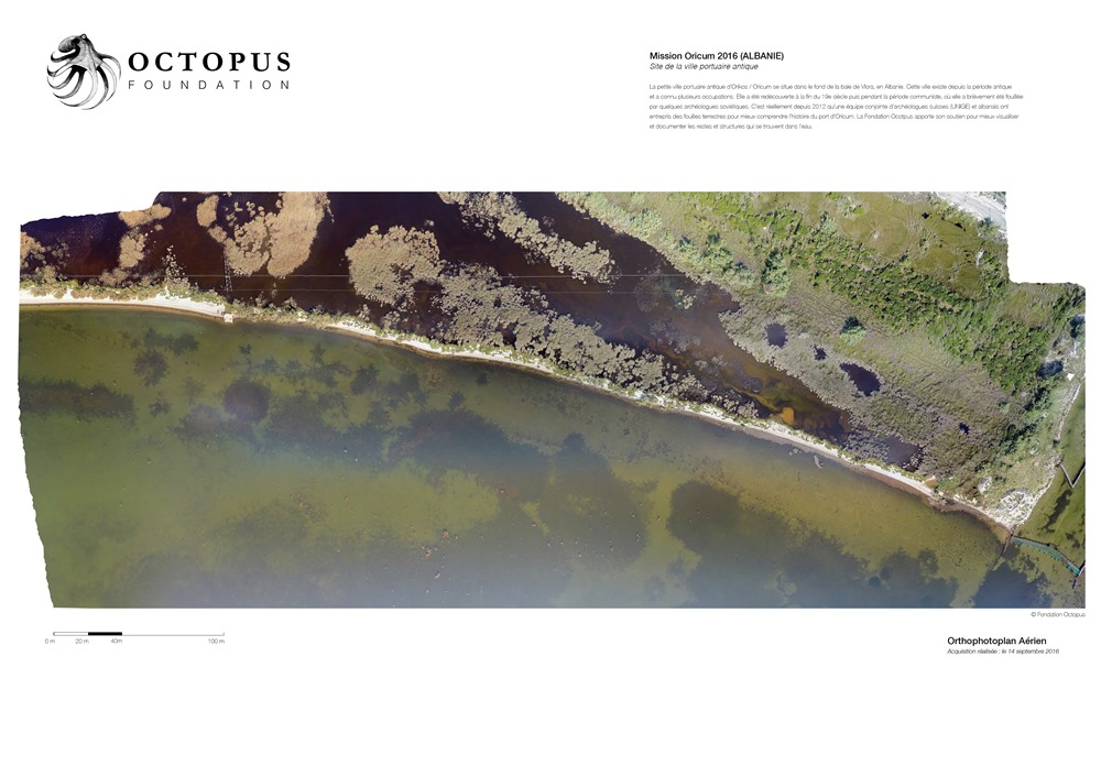 The 2016 orthophotoplan that revealed hundreds of underwater structures in the lagoon of Oricum © Octopus Foundation