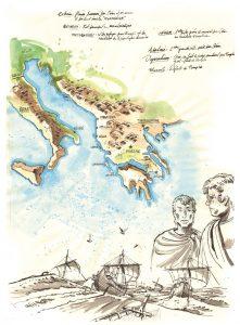 Dessin d'Antoine Bugeon, qui représente la botte de l'Italie, la côte Albanaise, et l'Adriatique entre les deux. Sujet de batailles navales et terrestres entre César et Pompée © Octopus Foundation