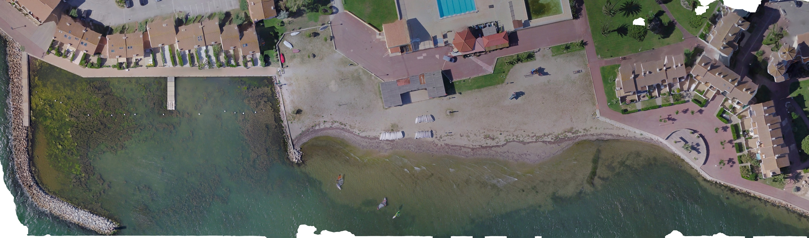 The orthophotoplan created with the photos of the drone is used to measure with great precision this particular seagrass in the Étang de Leucate © Octopus Foundation