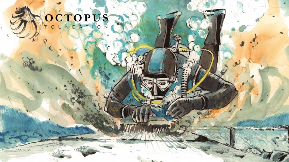 Représentation graphique des fouilles sous-marine à Oricum, en Albanie © Fondation Octopus