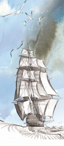 Dessin d'un trois mats du 18ème siècle par Antoine Bugeon © Octopus Foundation
