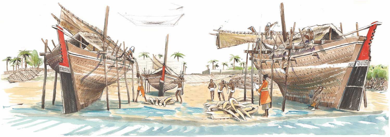 Ancient construction of dhows, boats typical to the Indian Ocean © Octopus Foundation