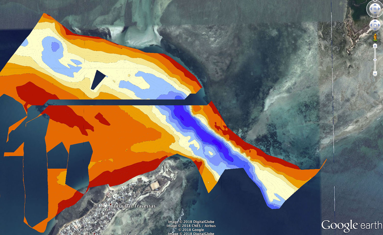 Bathymétrie réalisée grâce à une sonde portable qui peut être adaptée à n'importe quel bateau © Octopus Foundation