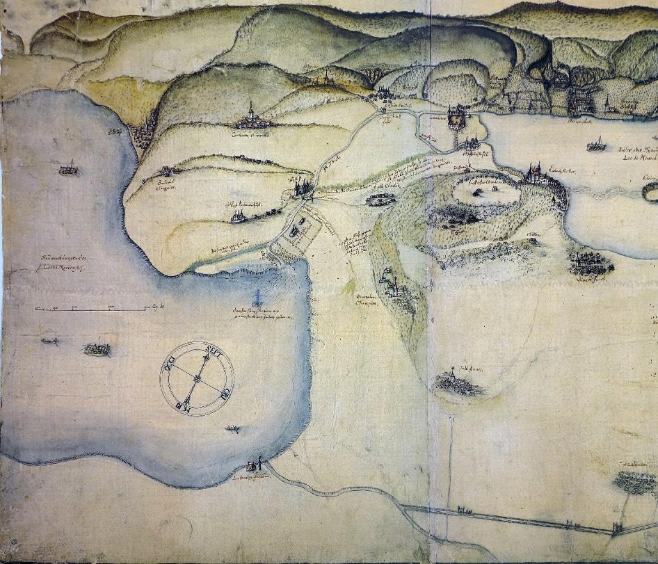 Mention sur une ancienne carte de la région (XVIe-XVIIe siècles) d'un signal empierré indiquant aux navigateurs la direction de l'entrée de l'ancienne Thielle © collection Schauenburg