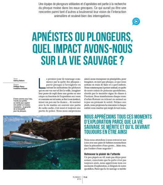 Extrait de l'article paru en janvier-février 2021 dans le magazine français Plongez! au sujet du phoque moine © Plongez!