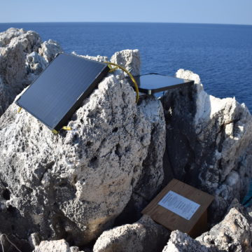 First prototype of fully autonomous monitoring system, installed in Greece in 2018 © Octopus Foundation